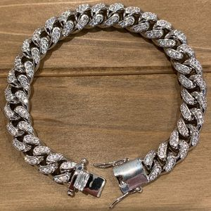 Other - White Gold Cuban Link Bracelet 10mm ICED